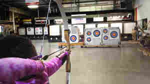 "Y'Jazzmin Christopher, 7, takes up target practice at Archery in the Wild in Longmont, Colo. ""She used to be a really shy person, but now she's opening socially,"" says Alicia Christopher, Y'Jazzmin's mom, about her daughter's archery."