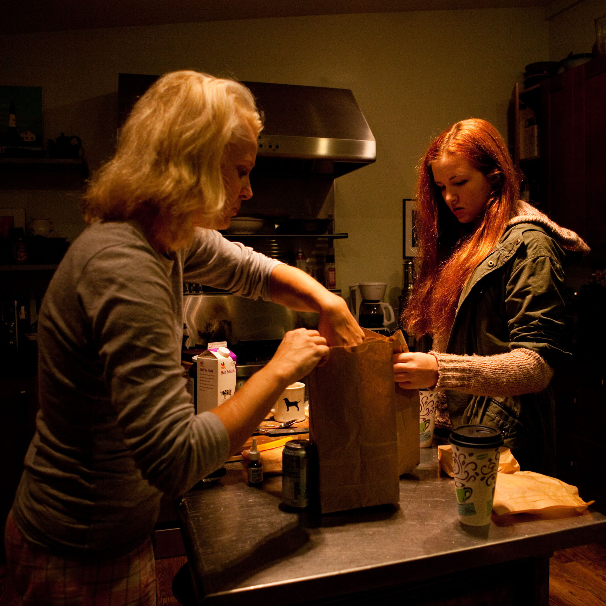 Cristina Sevin packs lunches for her two teenagers in Annapolis, Md., on Nov. 22.