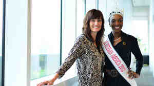 Weekend Edition Host Rachel Martin with Sunday Conversation guest Denyse Gordon, Miss Veteran America.