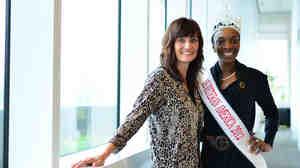 Weekend Edition Host Rachel Martin with Sunday Conversation guest Denyse Gordon, Miss Veteran America.