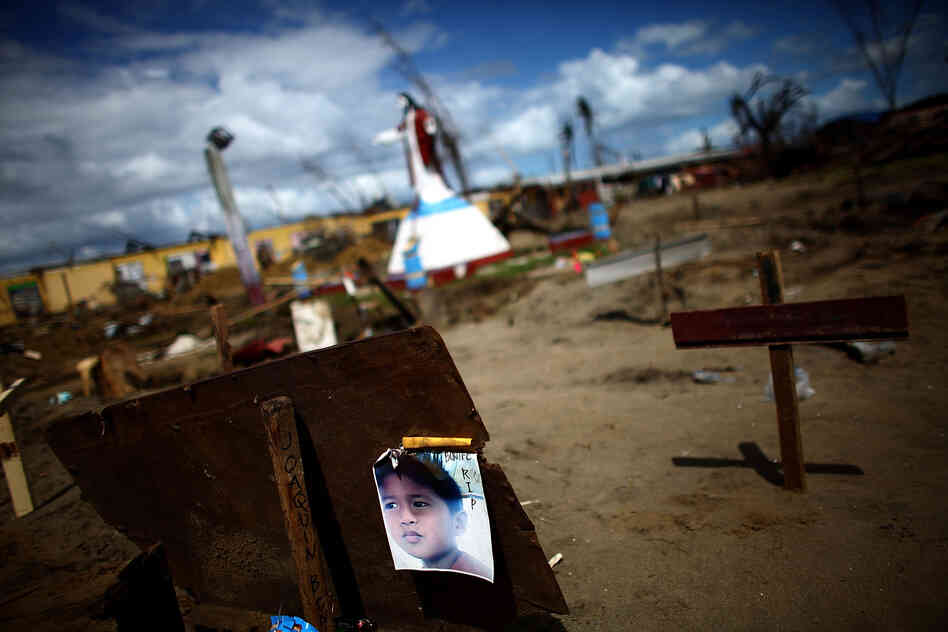 A makeshift graveyard outside San Joaquin Parish is now the final resting place of hundreds in the province of Leyte, Philippines.