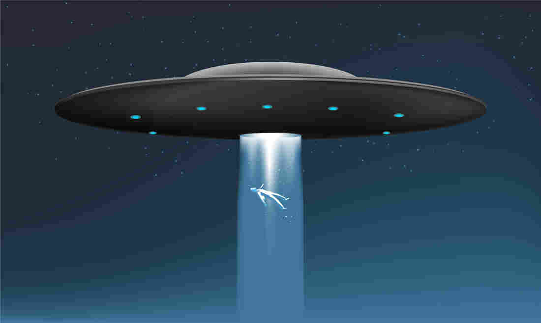 An illustration of a body rising into a UFO on a beam of light.