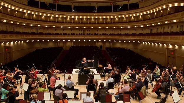 Conductor James Levine in rehearsal with Russian virtuoso Evgeny Kissin.