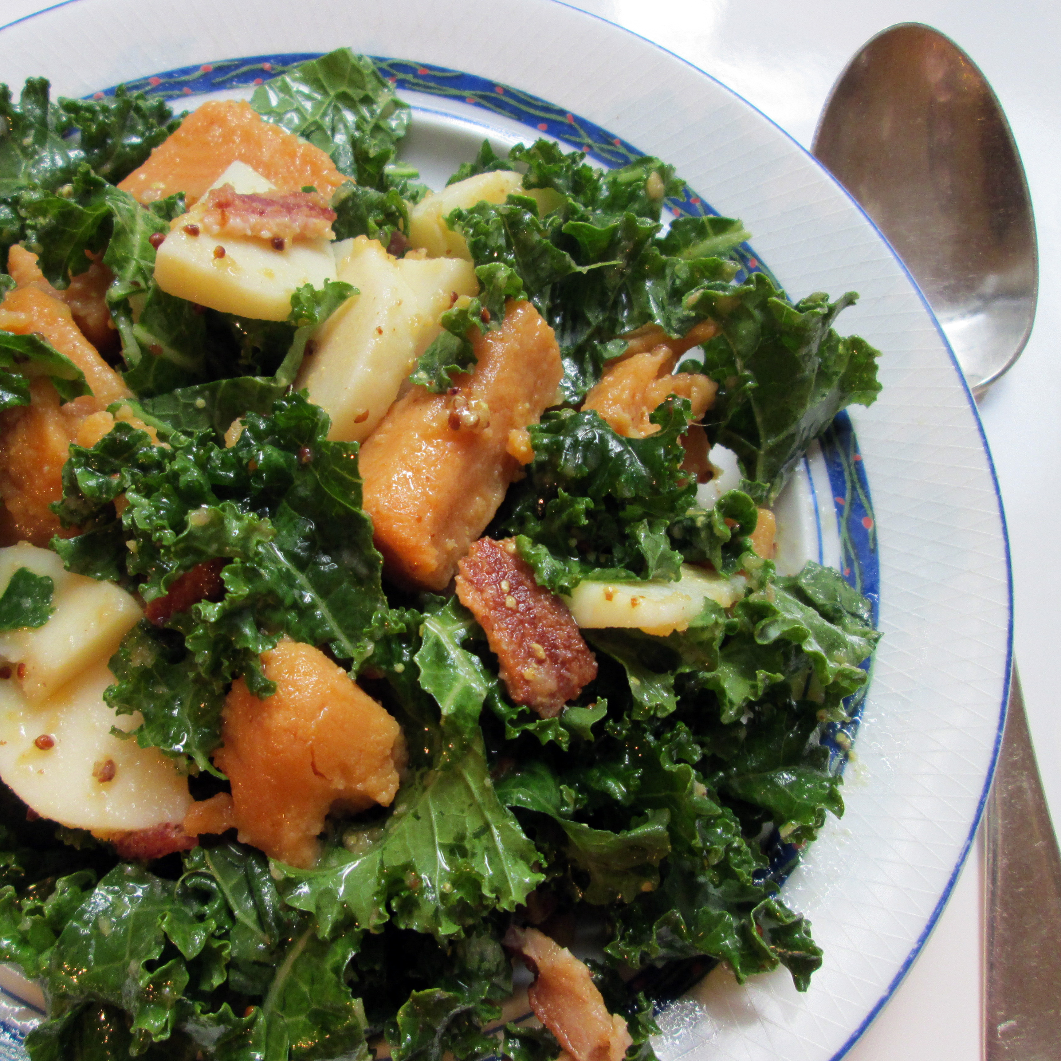 Yam And Russet Potato Salad With Greens And Bacon