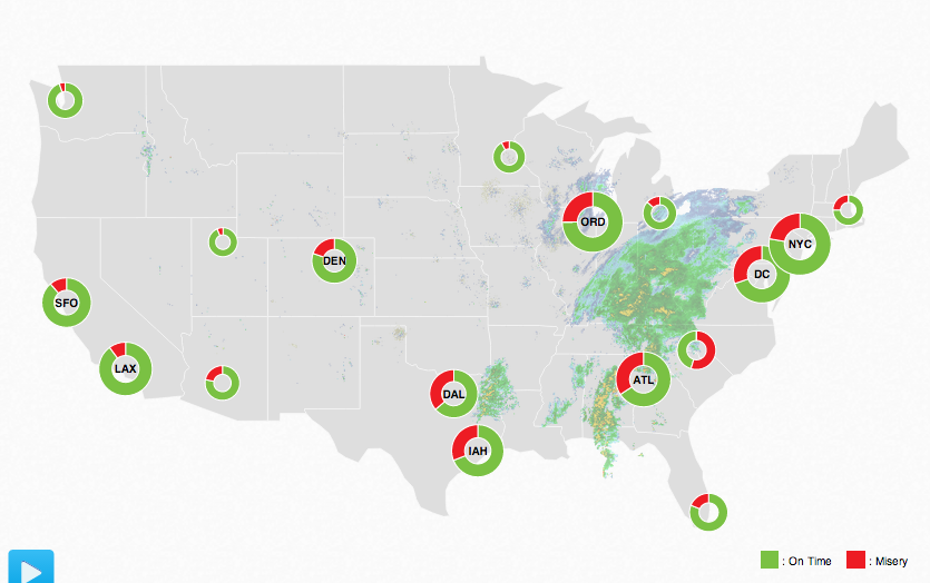 The FlightAware Misery Map combines weather and flight data into a live map.