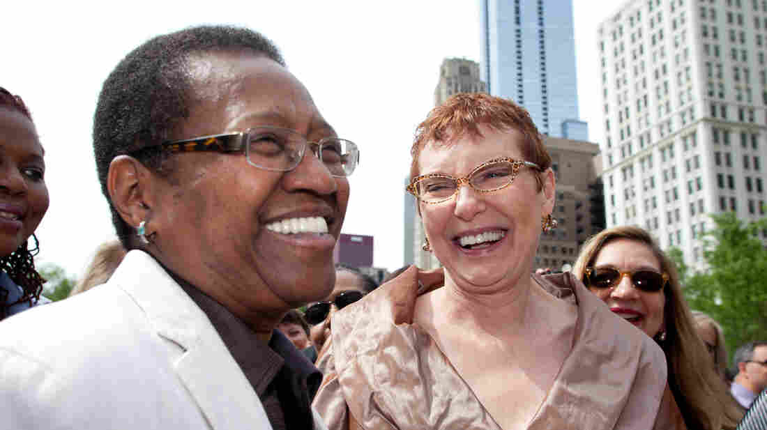 Vernita Gray (left) and her partner Patricia Ewert had a civil union in Chicago's Millennium Park in June 2011. A judge ruled Monday that they should be allowed to legally marry now because of Gray's health.