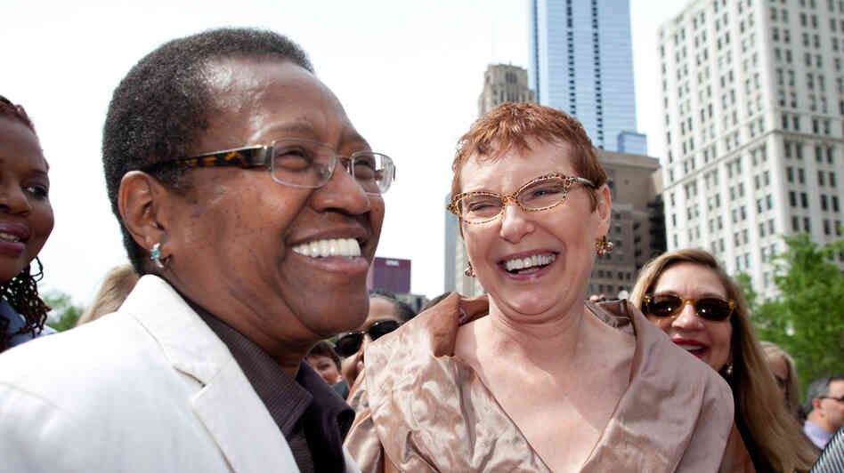 Vernita Gray (left) and her partner Patricia Ewert had a civil union in Chi