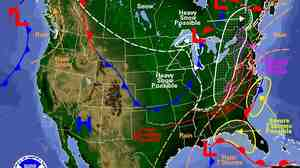 Tuesday's forecast for the eastern half of the U.S. shows big bands of rain, freezing rain and snow.