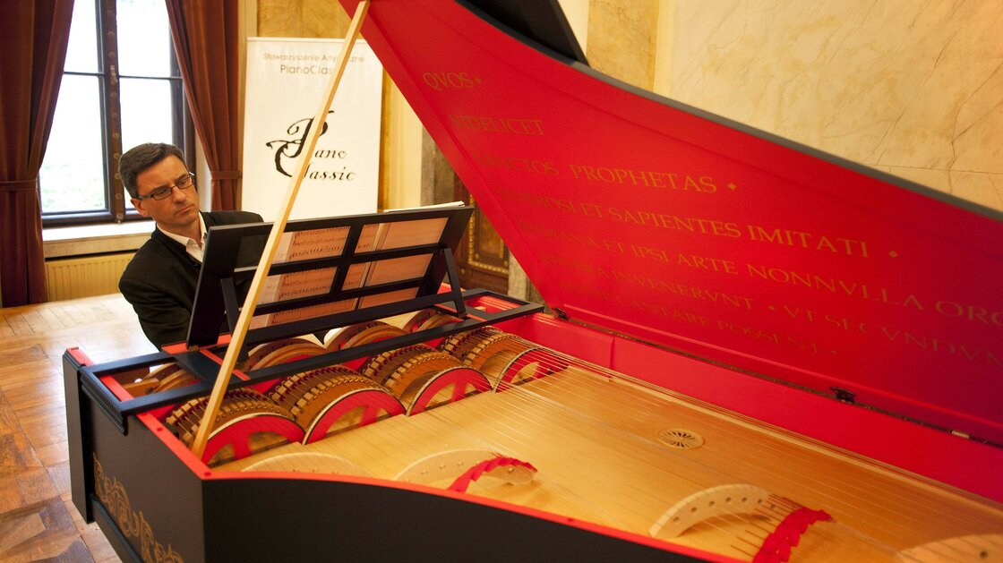 Pianist Slawomir Zubrzycki presents the 'viola organista' on Oct. 18, 2013 in Krakow, Poland. Zubrzycki spent almost four years building the instrument, which is based on a late 15th-century design by Leonardo da Vinci.