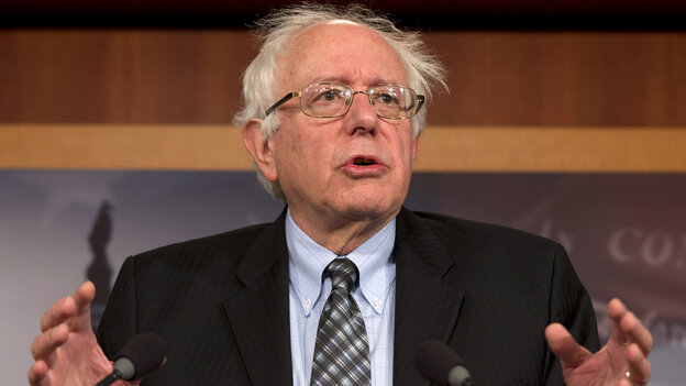 Vermont Sen. Bernie Sanders, an independent, speaks during a December 2012 news conference on Capitol Hill. Sanders said recently he'd consider running for president if no other progressive candidate steps up.