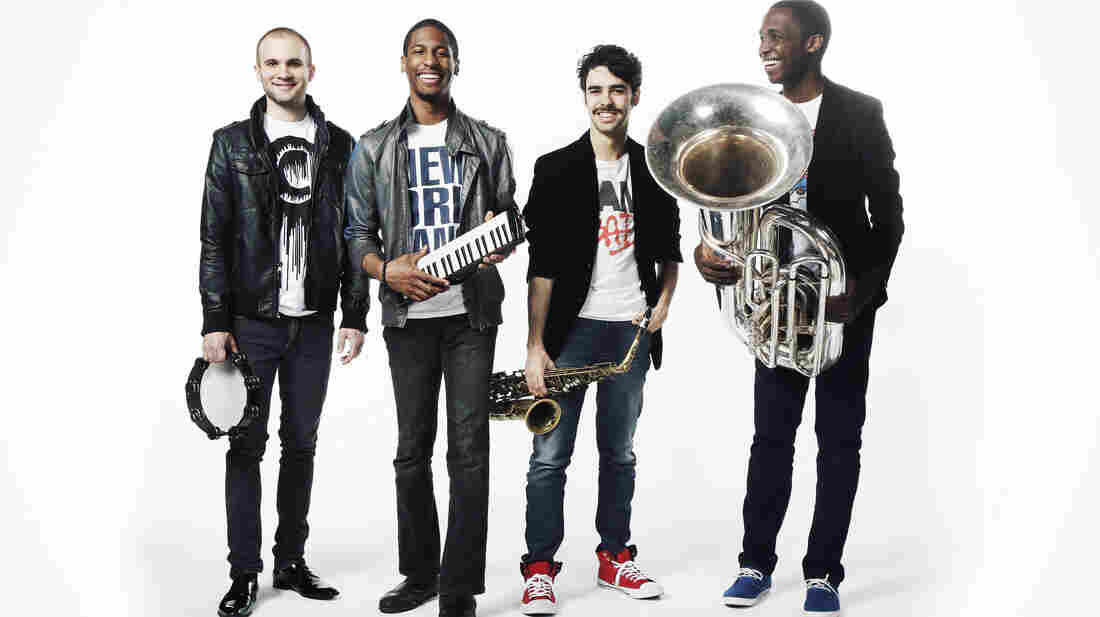 Jon Batiste (second from left) and the Stay Human band.