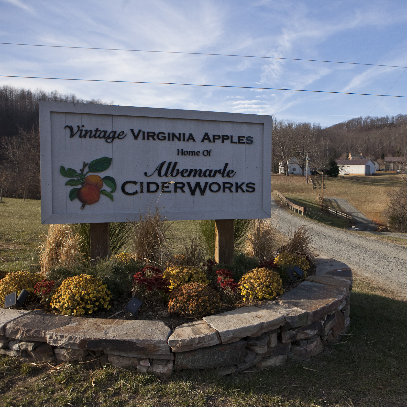 The entrance to Albemarle CiderWorks in North Garden, Va.