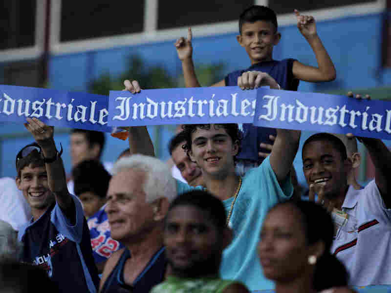 Fans show their support for the Industriales team at the Latin American stadium in Havana in 2009.