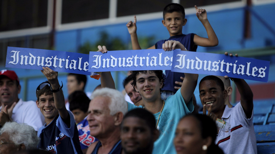 Fans show their support for the Industriales team at the Latin American stadium in Havana in 2009. (AP)