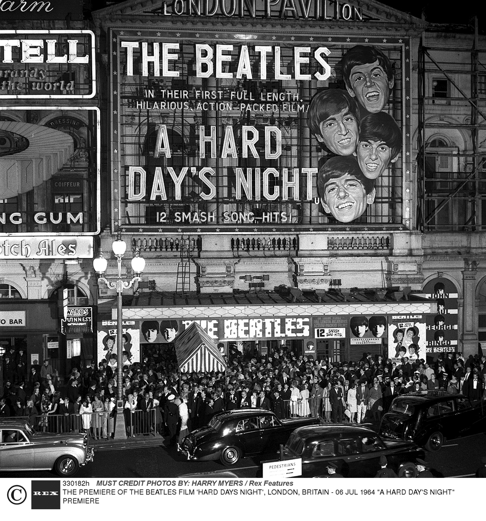 Outside The Hard Days Night film premiere on July 6, 1964.  (Rex Features)