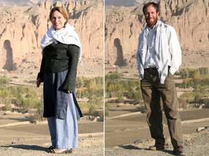 Renee Montagne and Jim Wildman in Bamiyan, Afghanistan, in photos they took of each other. In the background is the space where the giant Buddhas were located before the Taliban blasted them out.