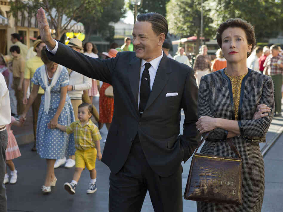 Tom Hanks plays the man himself, Walt Disney, alongside Emma Thompson as Mary Poppins author P.L. Travers, in Saving Mr. Banks.