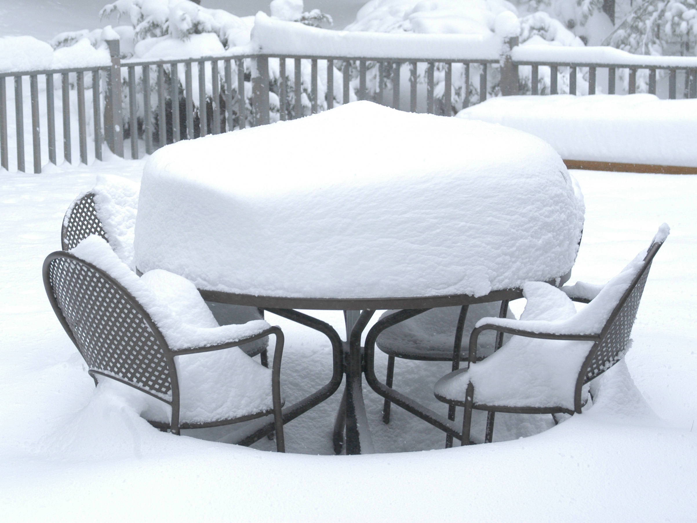 Please send this man photos of snow on your patio for Outdoor furniture denver