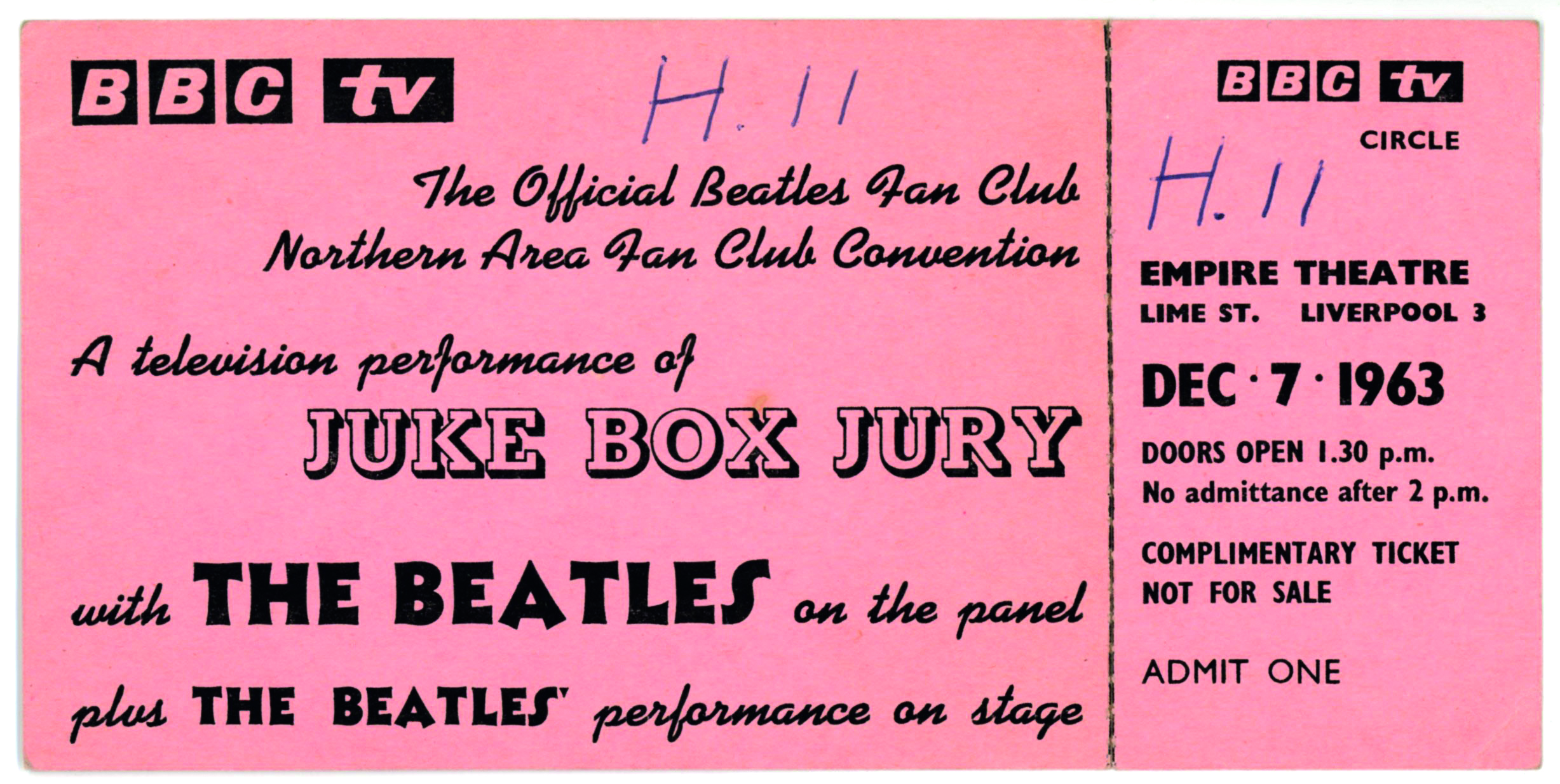 A ticket to see The Beatles on BBC1's Juke Box Jury at the Empire Theatre.