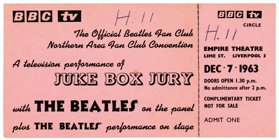A ticket to see The Beatles on BBC1's Juke Box Jury at the Empire Theatre. (Trackimages.com)