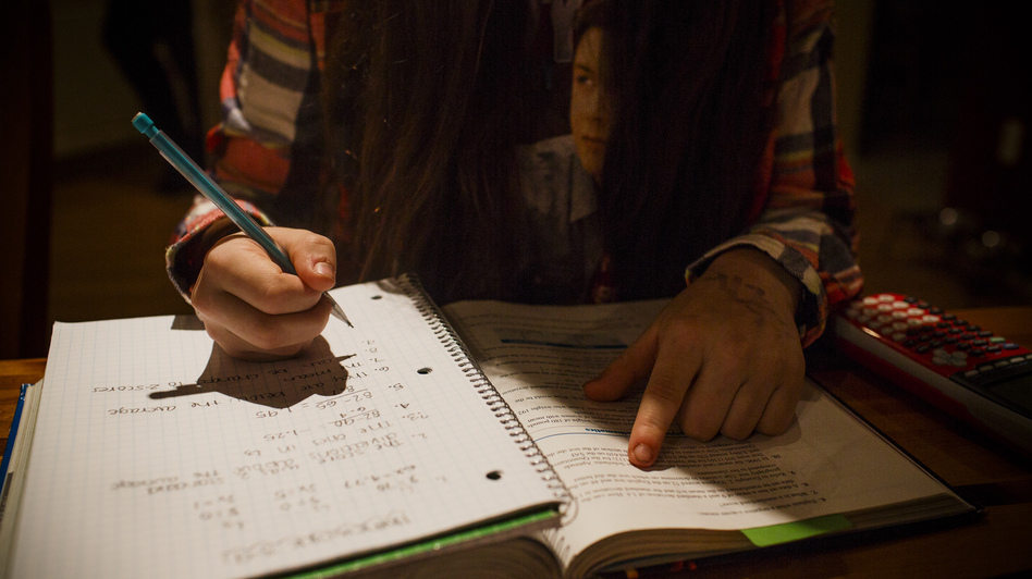 Colleen Frainey, 16, of Tualatin, Ore., cut back on advanced placement classes in her junior year because the stress was making her physically ill. (Toni Greaves for NPR)