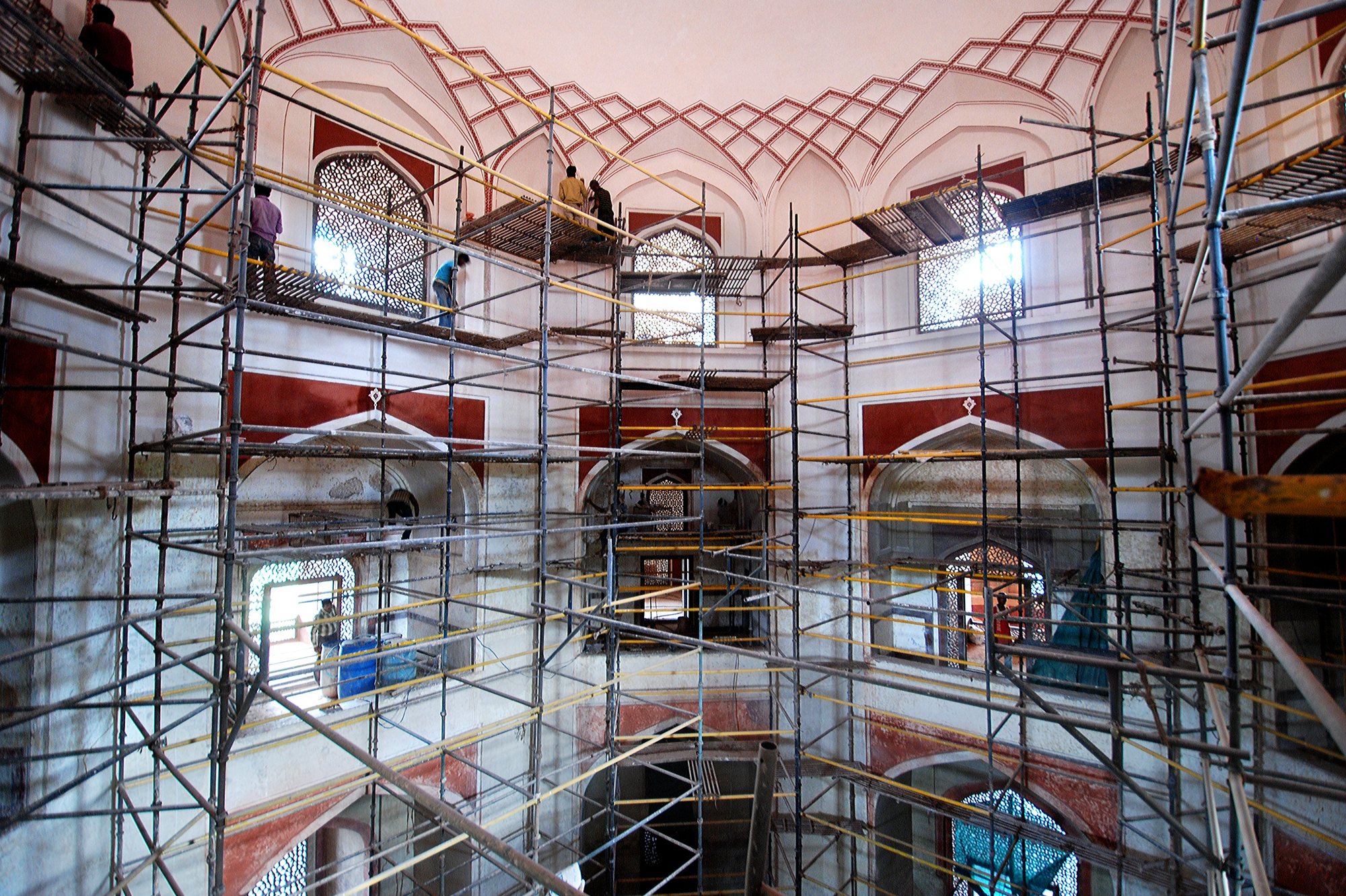 Scaffolding was erected in the main hall to redecorate and repair the water damage caused by leakage in the dome and rooftop.