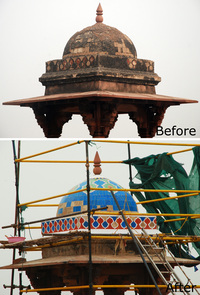 These images show the changes the monument has undergone with the restoration of vibrant tile work.