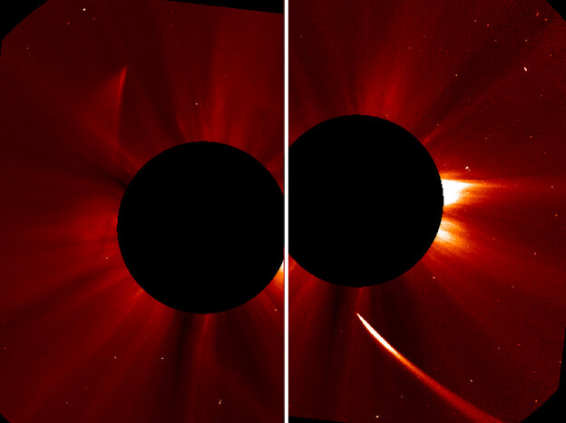 A view from NASA shows the Comet ISON streaming
