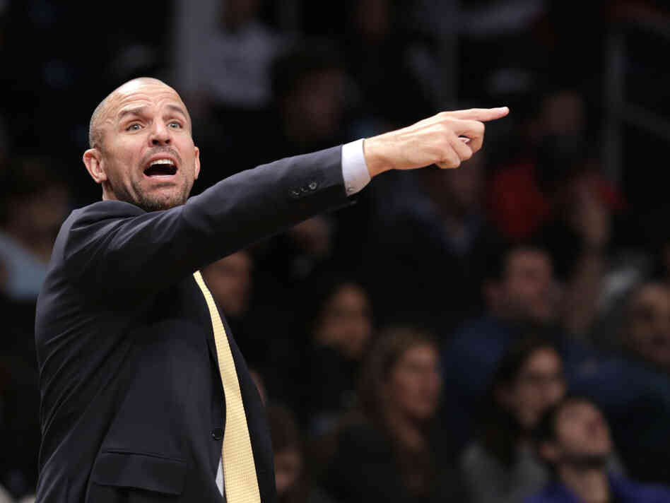 Brooklyn Nets head coach Jason Kidd yells to his team in the second half of an NBA basketball game against the Detroit Pistons, on Nov. 24 in New York.