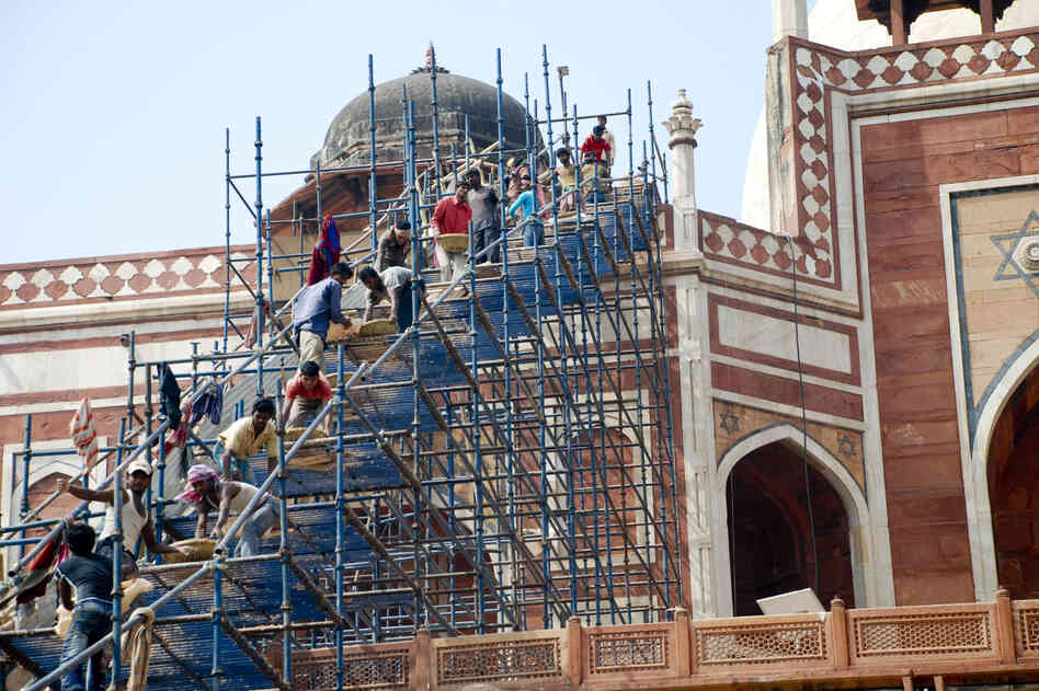 Elaborate scaffolding was erected to c