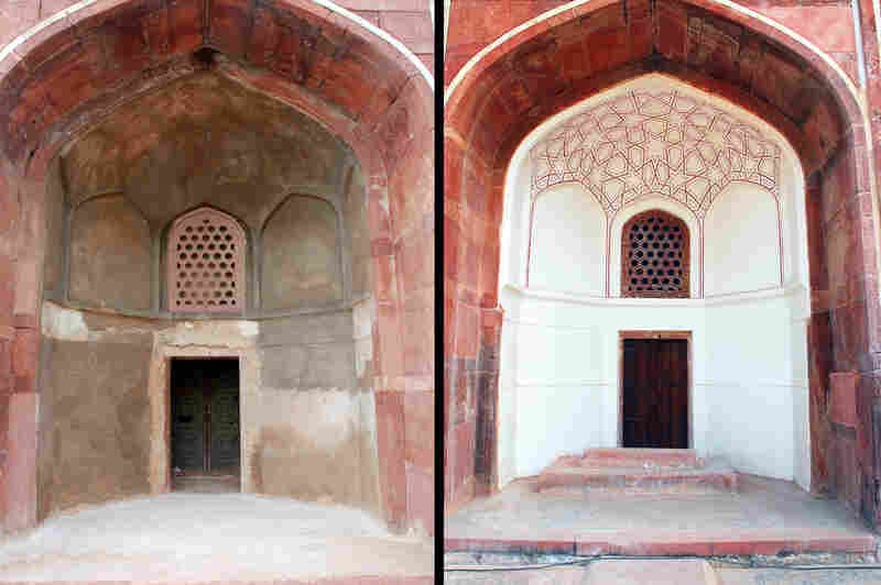 Before (left) and after photos of the ivory-colored lime plaster that covers the monument's exterior. Lime plaster applied in layers was used by the Moguls to mimic white marble.