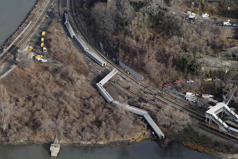A Metro-North passenger train derailed in the Bronx borough of New York on Sunday, coming to a rest just feet from the water. Authorities say four people were killed and 63 injured.