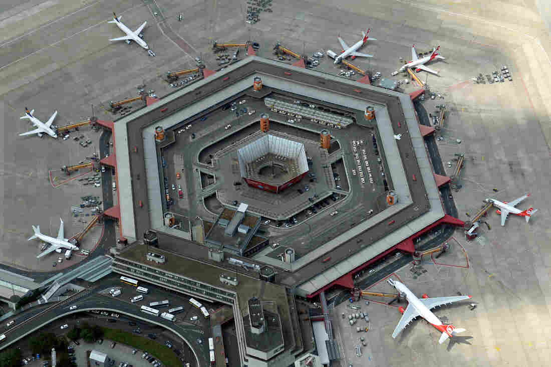 An aerial view shows planes parked at Tegel Airport in Berlin.