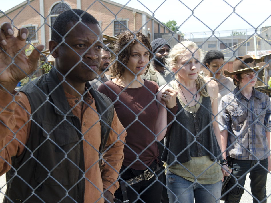 Bob Stookey (Larry Gilliard Jr.), Maggie Greene (Lauren Cohan), Tyreese (Chad Coleman), Beth Greene (Emily Kinney), Sasha (Sonequa Martin-Green) and Carl Grimes (Chandler Riggs) on AMC's <em>The Walking Dead</em>.