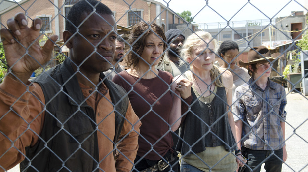 Bob Stookey (Larry Gilliard Jr.), Maggie Greene (Lauren Cohan), Tyreese (Chad Coleman), Beth Greene (Emily Kinney), Sasha (Sonequa Martin-Green) and Carl Grimes (Chandler Riggs) on AMC's The Walking Dead. (AMC)