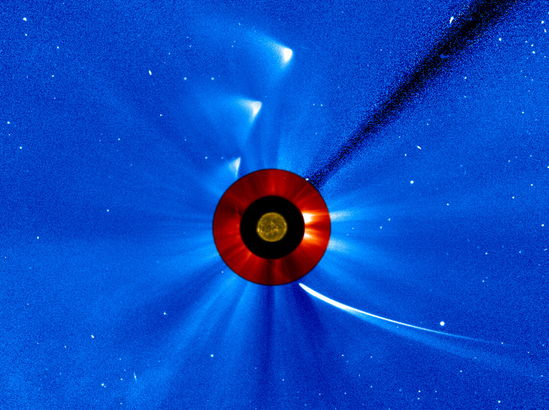 "NASA took a series of images to create this ""timelapse"" view of comet ISON's trip around the sun."