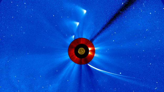 """NASA took a series of images to create this """"timelapse"""" view of comet ISON's trip around the sun. (NASA)"""