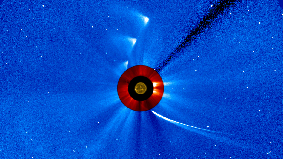 "NASA took a series of images to create this ""timelapse"" view of comet ISON's trip around the sun. (NASA)"