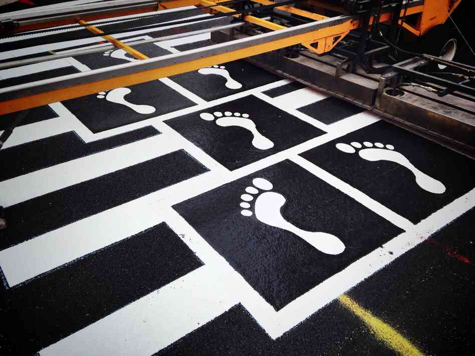 One section of the hopscotch crosswalk being installed.