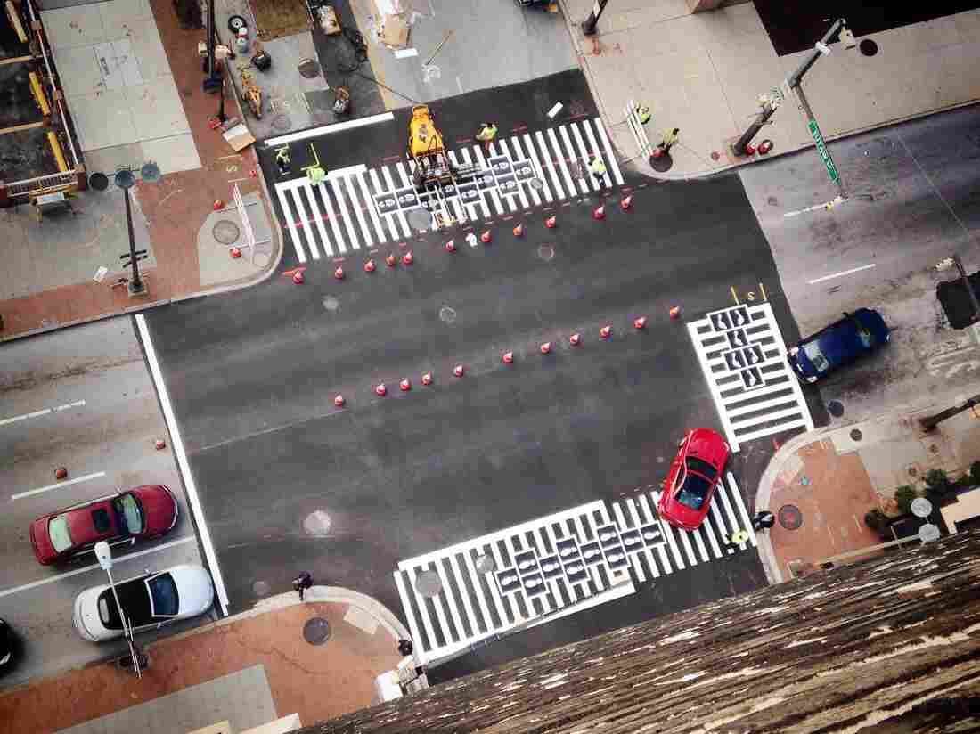 The crosswalk hopscotch as seen from above.
