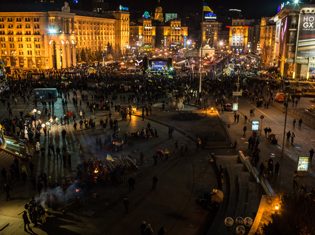 Protesters rally in Independence Square in Kiev on Tuesday.
