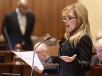 Illinois Sen. Linda Holmes, a Democrat, discusses pension legislation at the state Capitol on Tuesday.