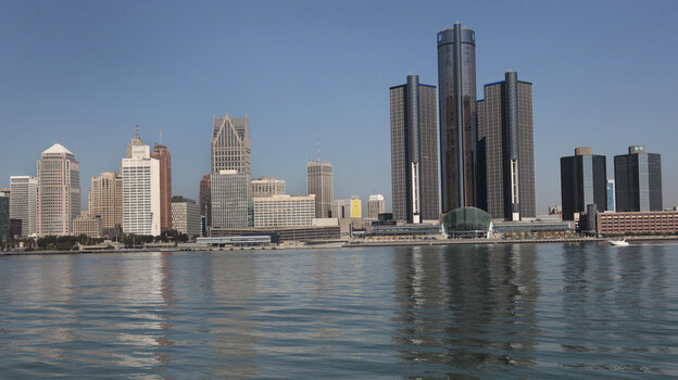 The Detroit skyline as seen from Windsor, Ontario, across the Detroit River.