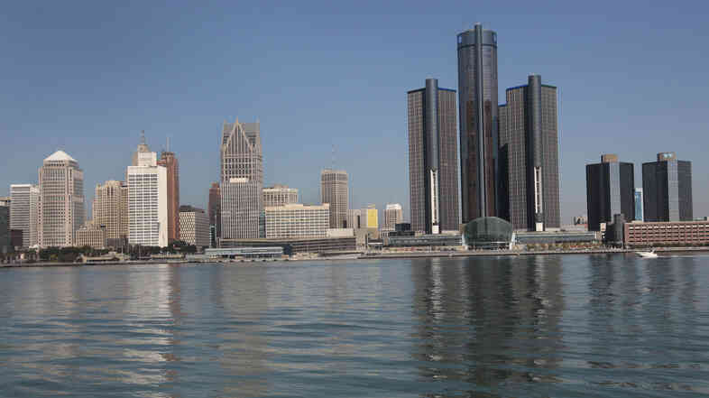 The Detroit skyline as seen from Windsor, Ontario, across the Detroit River.