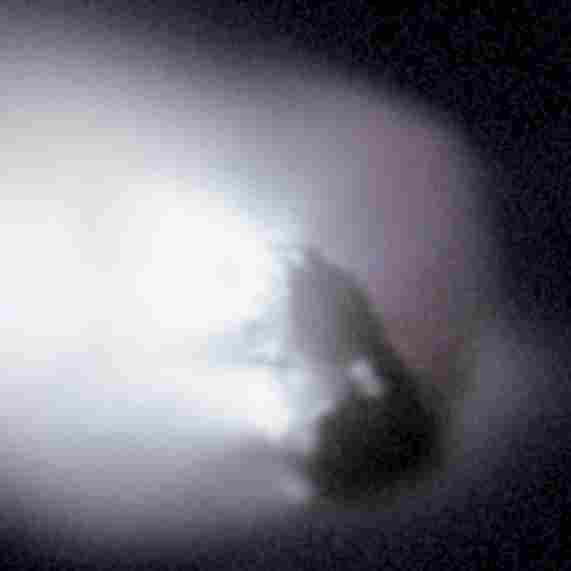In 1986, the European spacecraft Giotto looked into the heart of Halley's Comet as it approached the sun. Data from Giotto's camera were used to generate this enhanced image of the comet's potato-shaped nucleus, measuring roughly 15 kilometers across.