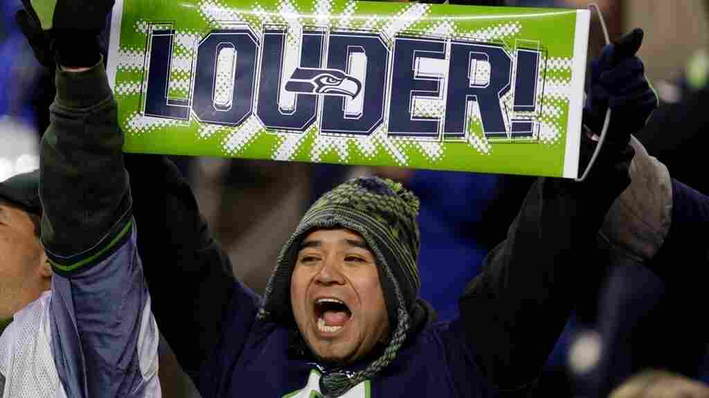 A Seattle Seahawks fan at Monday night's game, when he and other helped set a new noise record and made the ground rumble.
