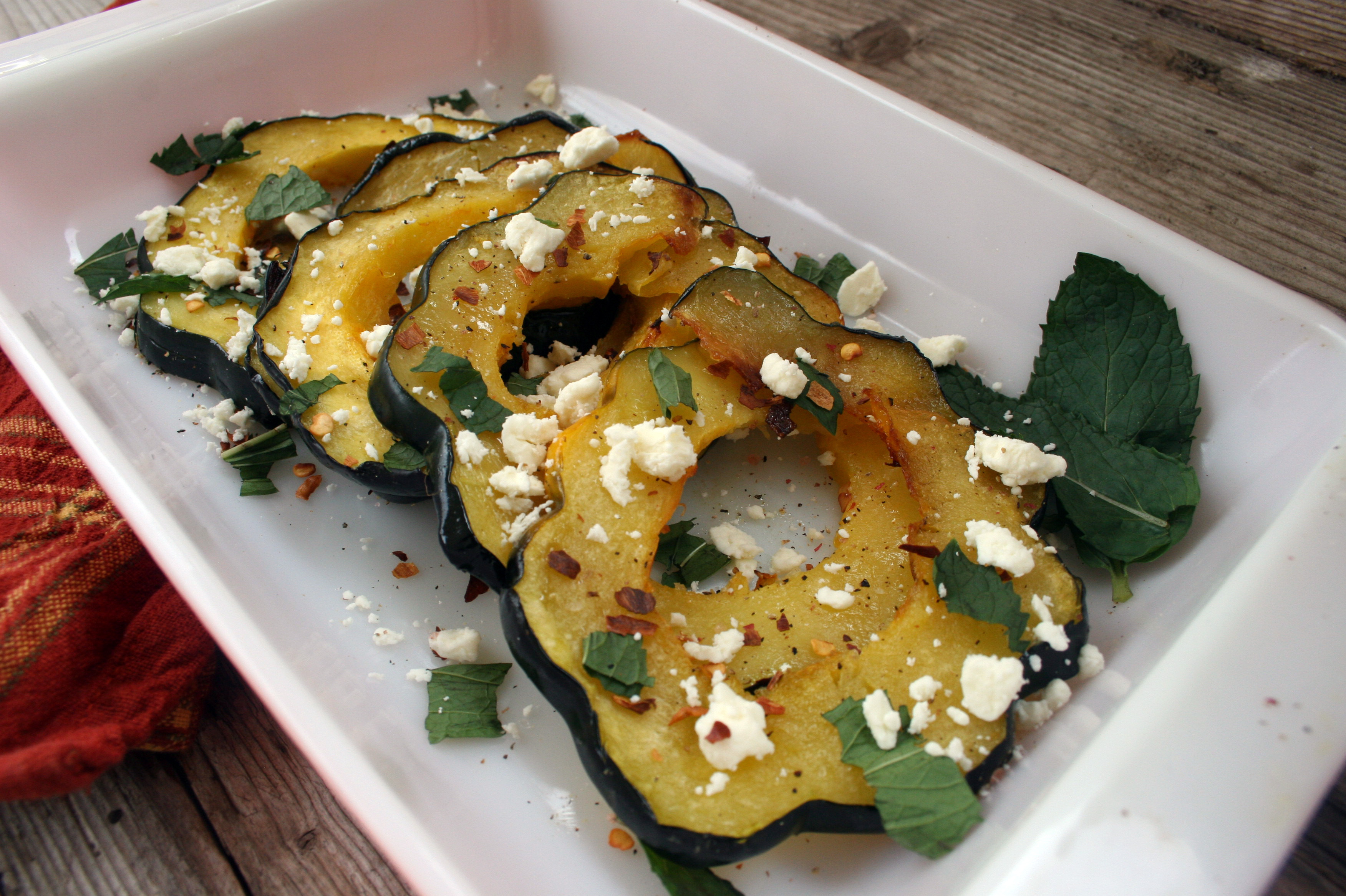 Roasted Squash With Mint And Feta