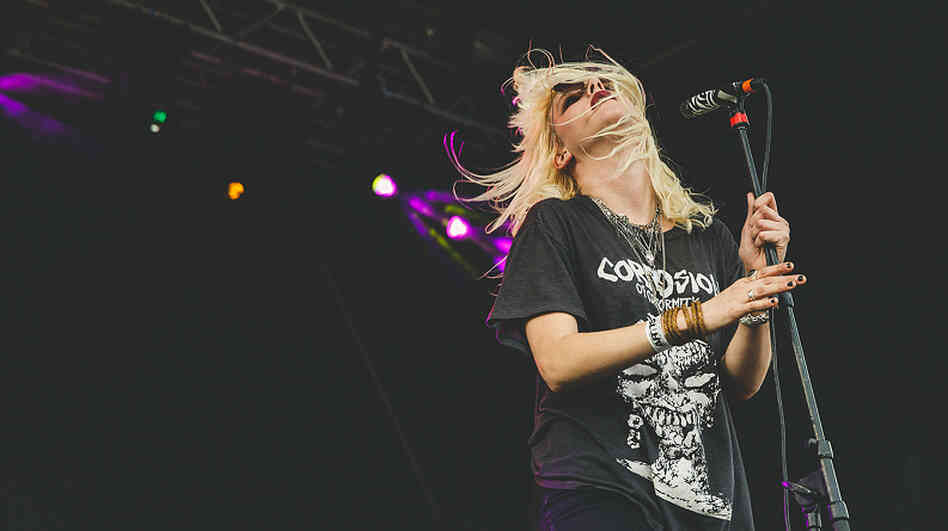 Mish Way onstage with White Lung at Fun Fun Fun Fest in Austin, Texas, in November.