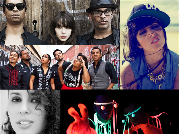 Clockwise, from top left: Bosnian Rainbows, Mala Rodriguez, Frikstailers, Raquel Sofia, La Santa Cecilia.