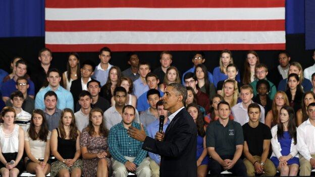 President Obama speaks at a town hall meeting at Binghamton University in Vestal, N.Y., in August.
